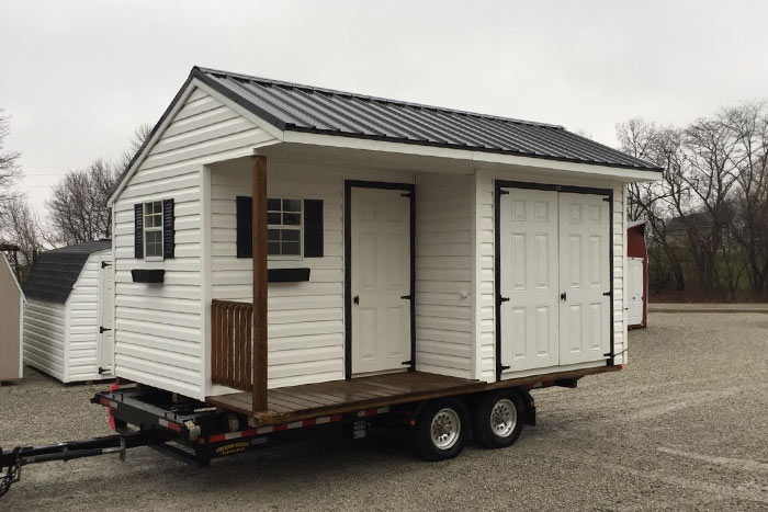 Vinyl Carriage Shed with Porch